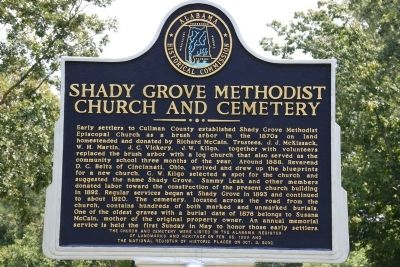 Shady Grove Methodist Church And Cemetery Marker image. Click for full size.