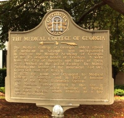 The Medical College of Georgia Marker image. Click for full size.