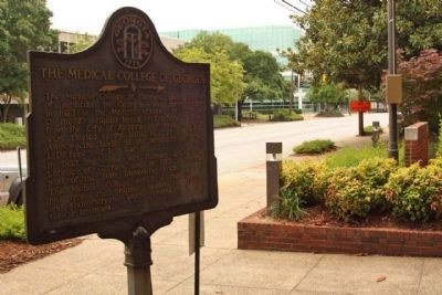 The Medical College of Georgia Marker, looking west along Laney-Walker Blvd at the College image. Click for full size.