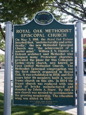 Royal Oak Methodist Episcopal Church Marker image. Click for full size.