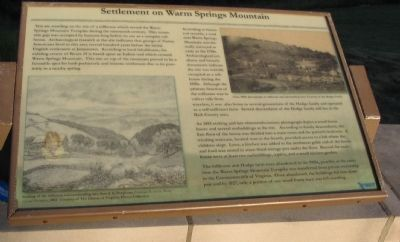 Settlement on Warm Springs Mountain Marker image. Click for full size.