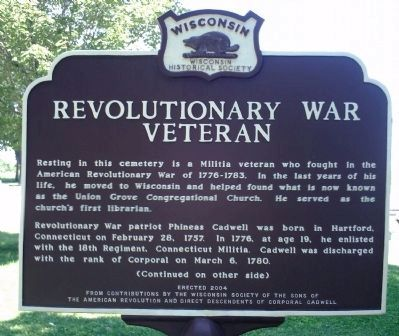Revolutionary War Veteran Marker - Side A image. Click for full size.