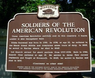 Soldiers of the American Revolution Marker - Side A image. Click for full size.