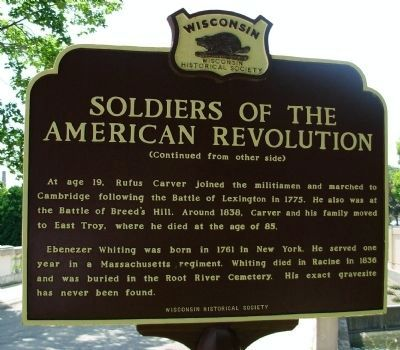 Soldiers of the American Revolution Marker - Side B image. Click for full size.