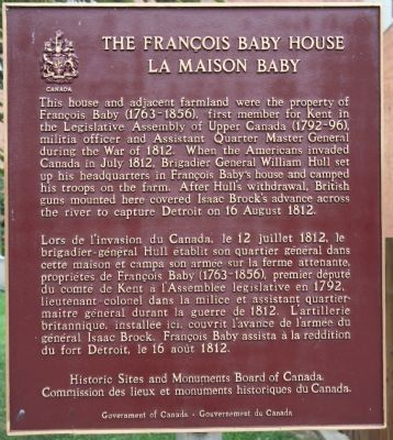 The Francois Baby House Marker image. Click for full size.