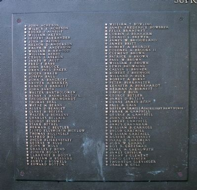 South Face, Center Panel, First Plaque of Names image. Click for full size.