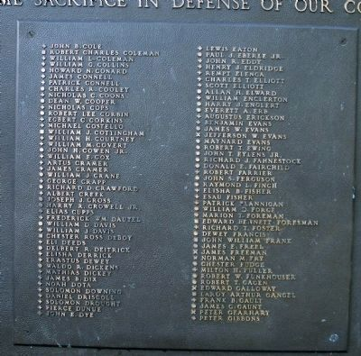 South Face, Center Panel, Second Plaque of Names image. Click for full size.