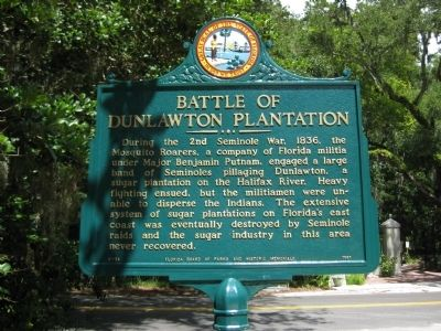 Battle of Dunlawton Plantation Marker image. Click for full size.