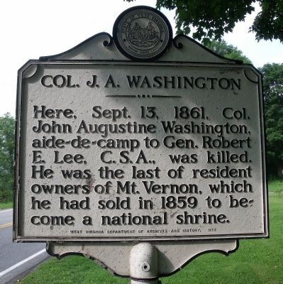 Col. J. A. Washington Marker image. Click for full size.