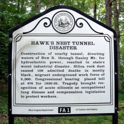 Hawk's Nest Tunnel Disaster Marker image. Click for full size.
