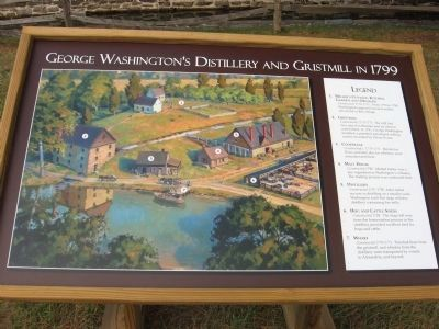 George Washington's Gristmill &Distillery Informational Sign image. Click for full size.