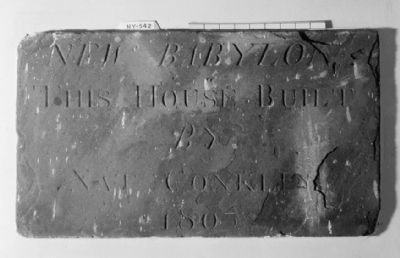 Inscribed tablet mounted by Nathaniel Conklin on chimney front image. Click for full size.