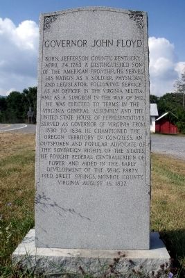 Governor John Floyd Marker image. Click for full size.