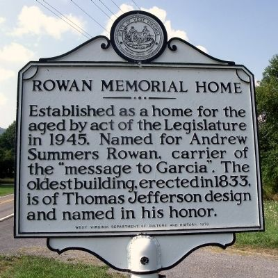 Rowan Memorial Home Marker image. Click for full size.
