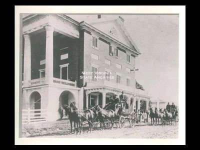 Jefferson Hotel at Sweet Springs with horse drawn stage coach alongside. image. Click for full size.