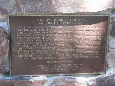 Lake Tahoe Outlet Works and Gatekeepers Cabin Marker image. Click for full size.