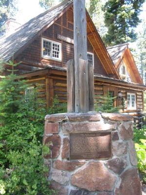 Lake Tahoe Outlet Works and Gatekeepers Cabin Marker With The Gatekeepers Museum in the Background image. Click for full size.