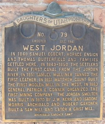 West Jordan Marker image. Click for full size.