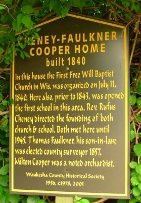 Cheney-Faulkner Cooper Home Marker image. Click for full size.