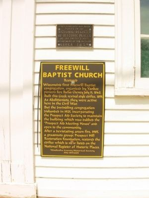Freewill Baptist Church Marker image. Click for full size.