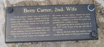 Transcribed Inscription from the Tomb of<br>Betty Carter, 2d. Wife image. Click for full size.