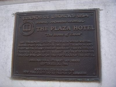 The Plaza Hotel Marker image. Click for full size.