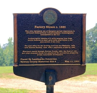 Factory Shoals c. 1820 Marker image. Click for full size.