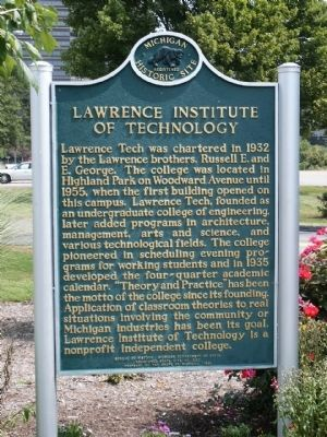 Lawrence Institute of Technology Marker image. Click for full size.