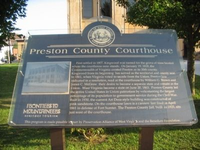 Preston County Courthouse Marker image. Click for full size.