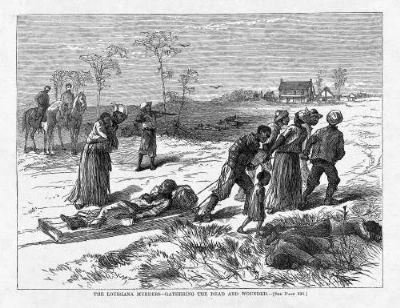"""The Louisiana Murders—Gathering The Dead And Wounded"" published in Harper's Weekly May 10, 1873 image. Click for full size."