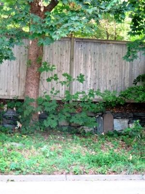 Milestone 25 (seen across street beneath stockade fence); marker is missing image. Click for full size.