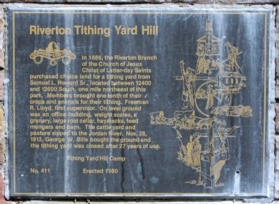 Riverton Tithing Yard Hill Marker image. Click for full size.