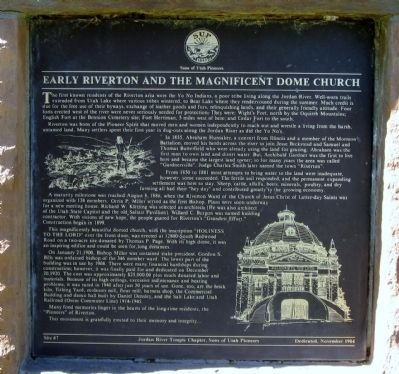 Early Riverton and the Magnificent Dome Church Marker image. Click for full size.