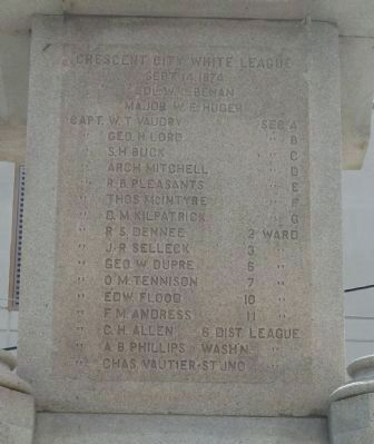 Battle of Liberty Place Monument, north face, upper inscriptions image. Click for full size.