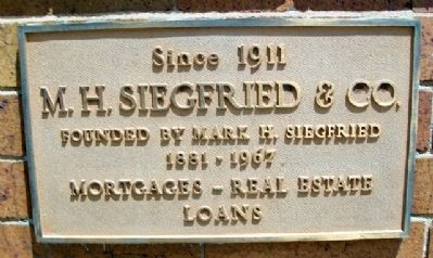 Siegfried Company Marker on First Fireproof Building image. Click for full size.