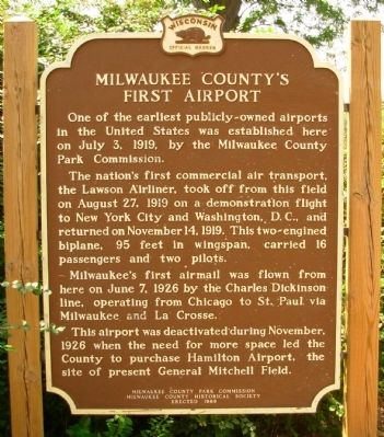 Milwaukee County's First Airport Marker image. Click for full size.