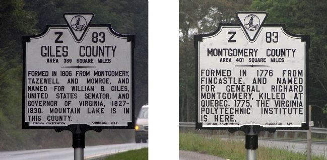 Giles County / Montgomery County Marker image. Click for full size.