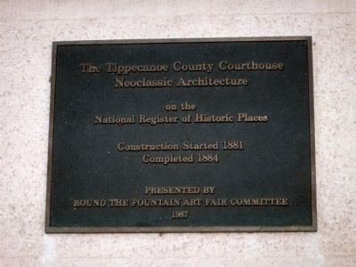The Tippecanoe County Courthouse Marker image. Click for full size.