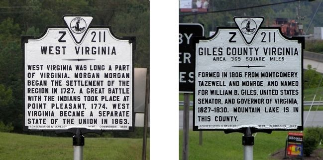 West Virginia / Giles County Virginia Marker image. Click for full size.