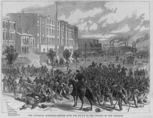 """Louisiana Outrages - Attack upon the police in the streets of New Orleans"" - Harper's Weekly, 1874 image. Click for full size."
