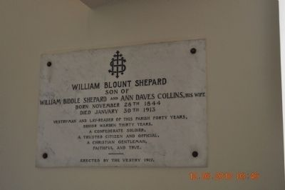 William Blount Shepard -Plaque inside Church image. Click for full size.