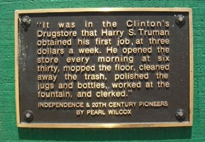 Truman's First Job Marker image. Click for full size.