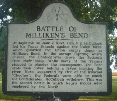 Battle of Milliken's Bend Marker image. Click for full size.