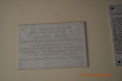 Joseph Hewes Plaque inside St. Paul's Eposcopal Church image. Click for full size.