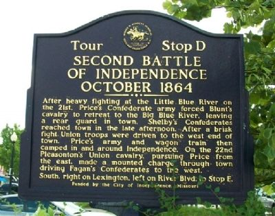 Second Battle of Independence, October 1864 Marker image. Click for full size.