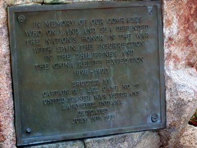 Lower Plaque - - Tippecanoe County War Memorial Marker image. Click for full size.