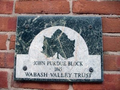 Upper Plaque - John Purdue Block Marker image. Click for full size.