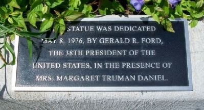 Harry S. Truman Monument Dedication Marker image. Click for full size.