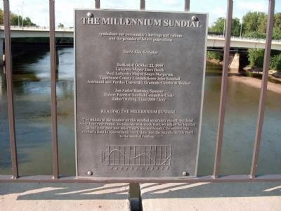 "Dedication and Instruction Plaque of "" Millennium Sundial "" image. Click for full size."