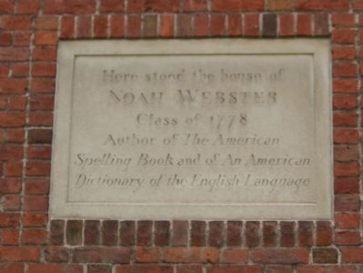 Noah Webster House Marker image. Click for full size.
